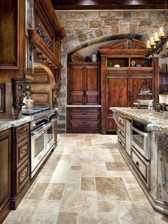 kitchen - stone and dark wood cabinets | New Home Ideas | Pinterest ...