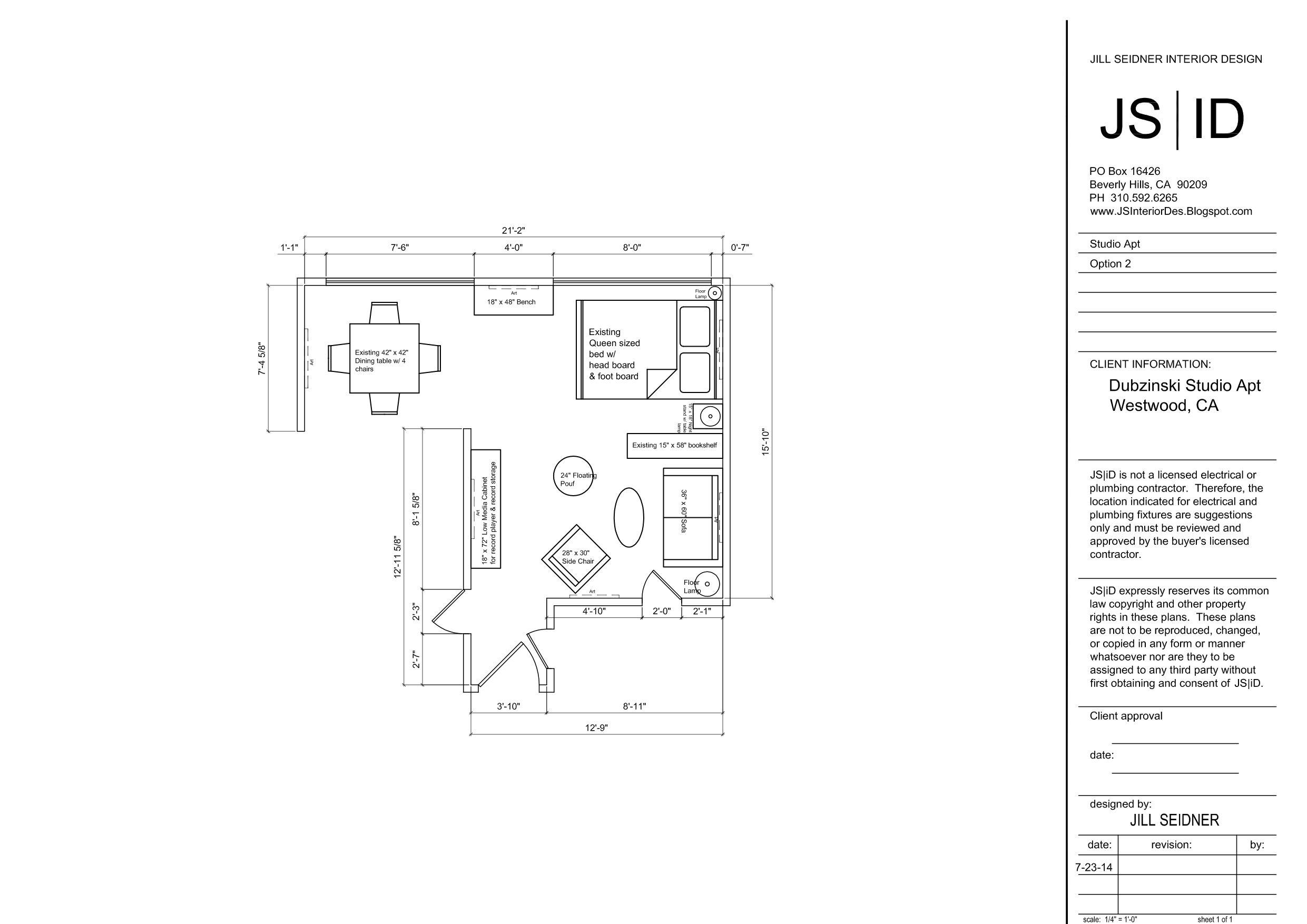 Westwood, CA Studio Apartment Furniture Floor Plan Layout ...