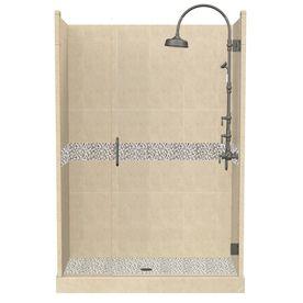 American Bath Factory 86-in H x 34-in W x 48-in L Java Medium Alcove Shower Kit