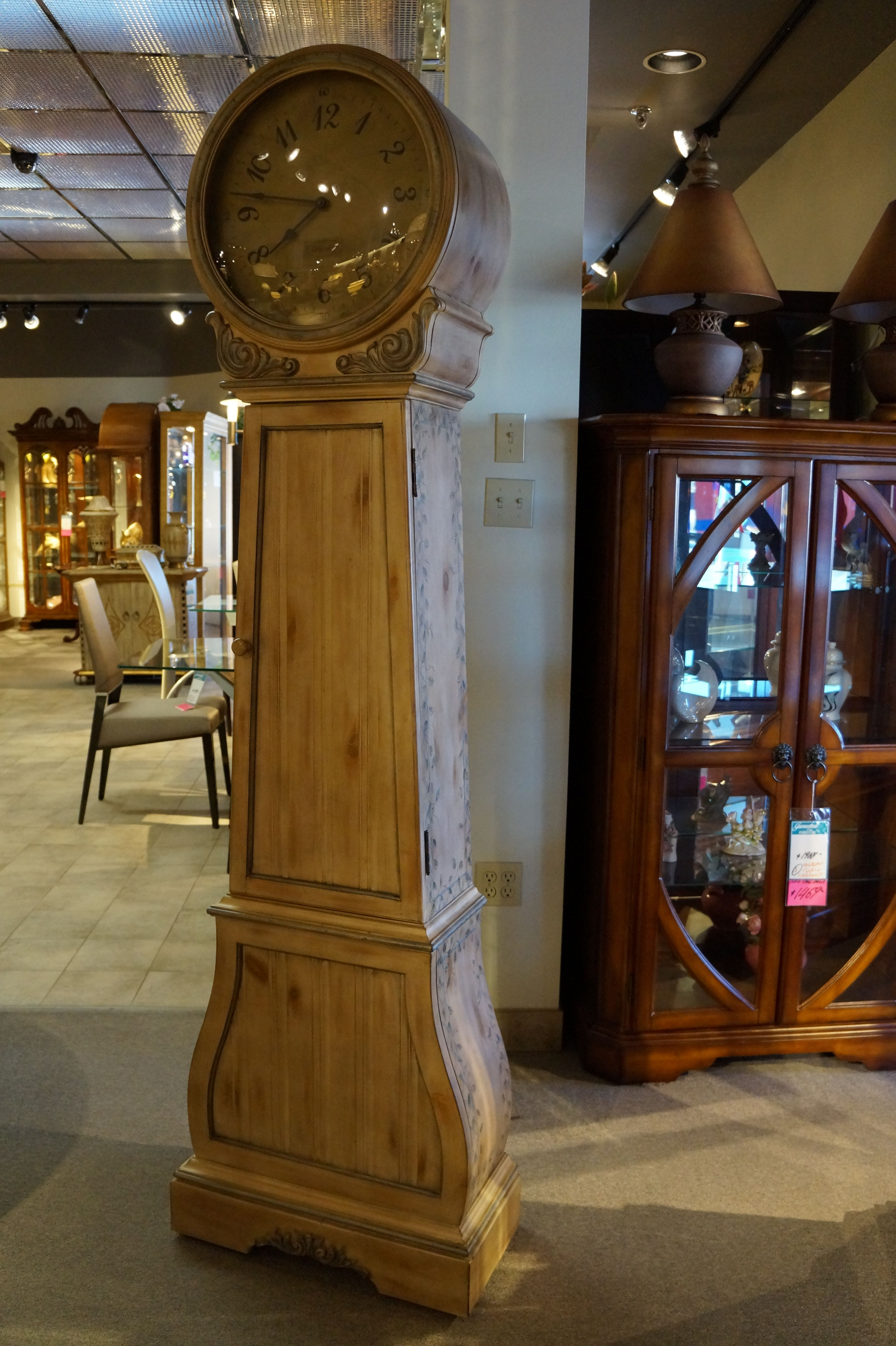 Attirant Antiqued Natural Wood Storage Floor Clock With Subtle Vine Detailing.
