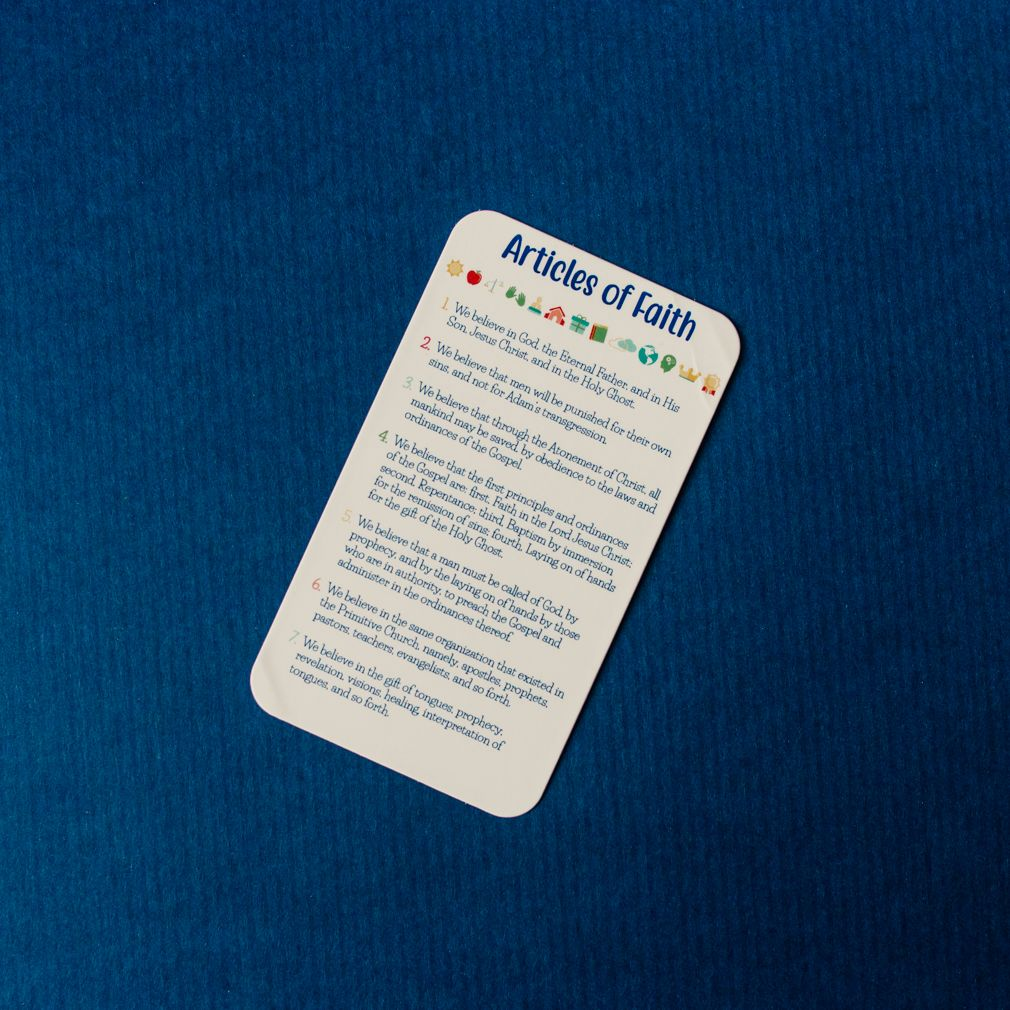 Articles Of Faith Pocket Card Kids In 2020 Articles Of Faith Pocket Cards 13 Articles Of Faith