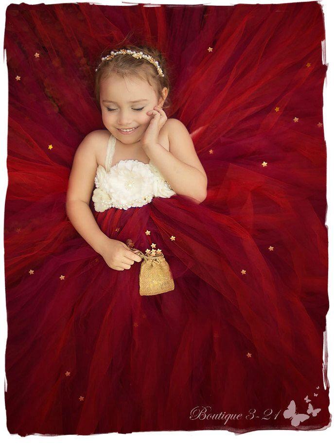 Cranberry Flower Girl Dress, Cranberry Tutu Dress, Red Flower Girl Dress…