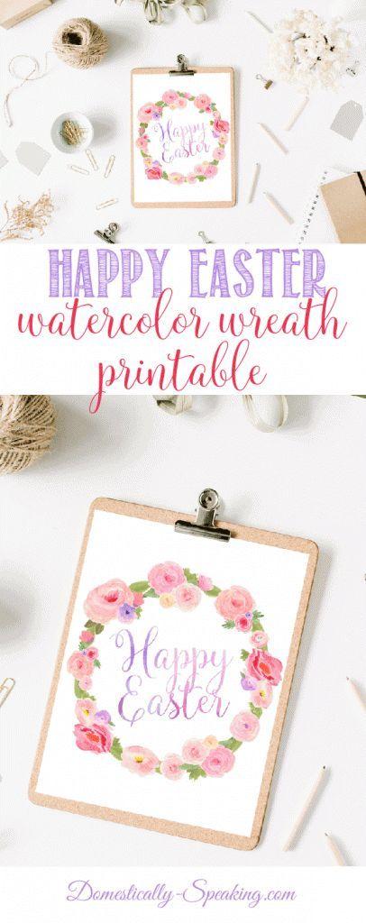 Easter Printable | Watercolor Printable | Wreath Printable | Free Printable