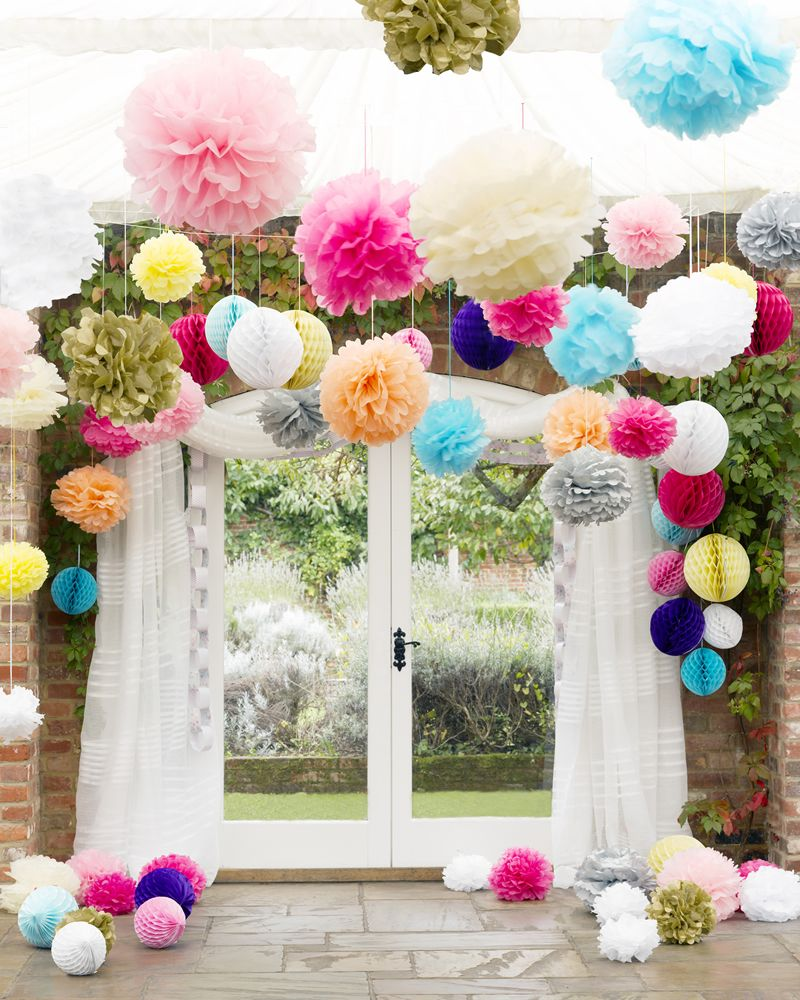 Wedding decorations accessories decoration for home colourful pompoms wedding party accessories lanterns and pom junglespirit Images
