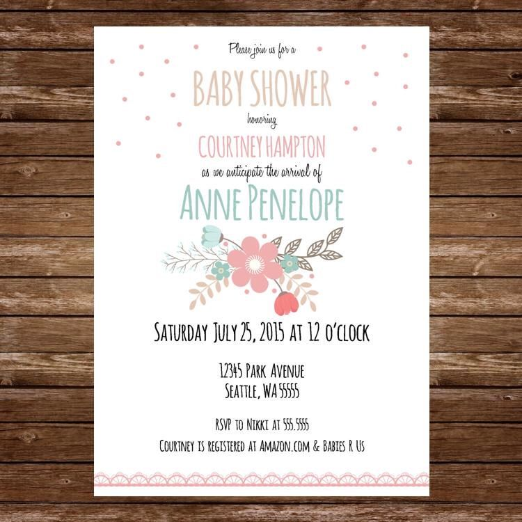 Printable Coral and Mint floral Baby Shower Invitation, with baby - how to word a baby shower invitation