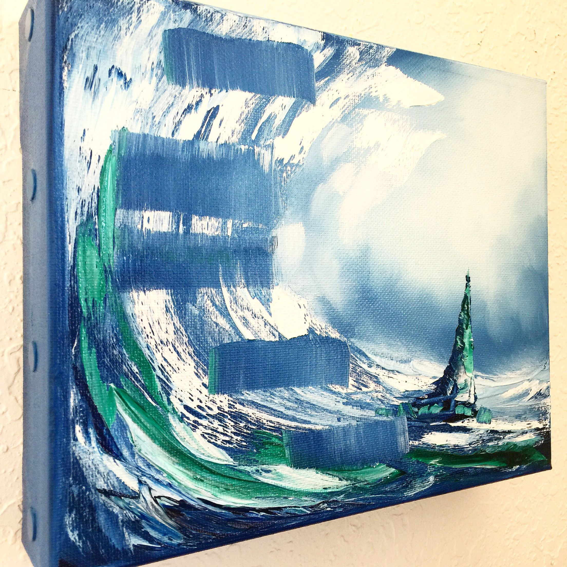 "New Mini Nautical Painting! ""Stairway in the Ocean"" 