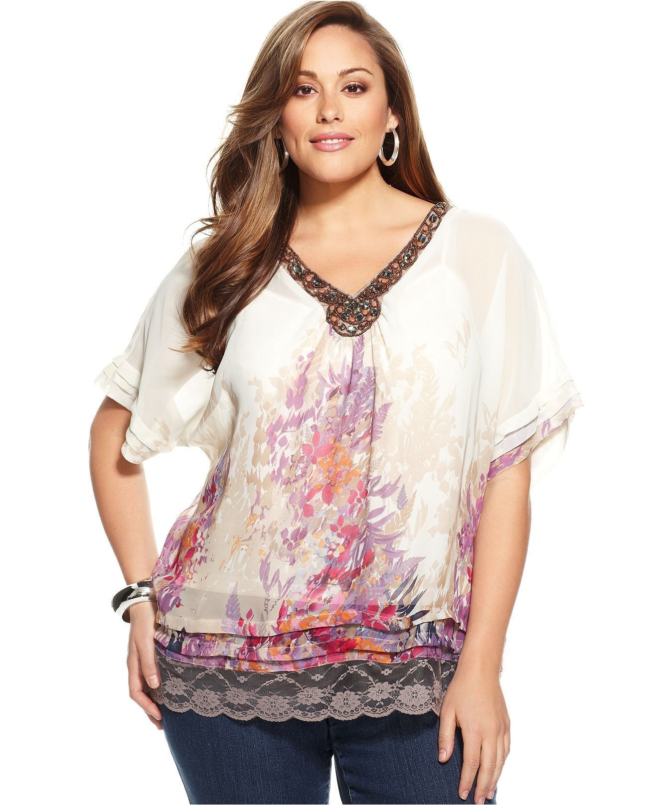 Ny Collection Plus Size Top Short Sleeve Printed Embellished Plus