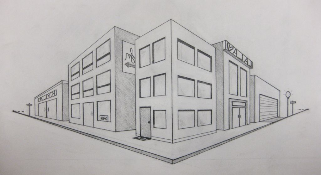 2Point Perspective Drawing  Simple 2 Point Perspective