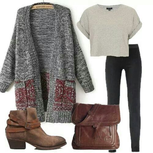 High waste pants.  Crop grey or muted short sleeve tshirt. Short heel boot.  A large and comfy sweater.