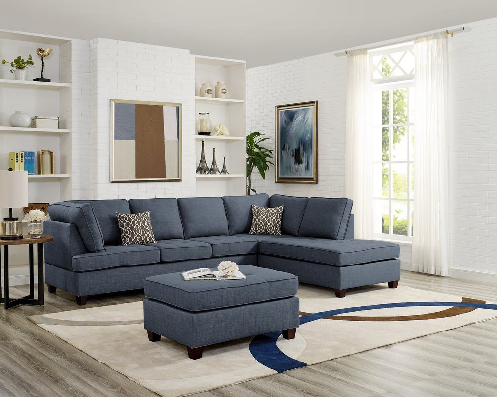 Nottingham Reversible Sectional With Ottoman Fabric Sectional Sofas Sectional Sofa Sectional Sofa Couch