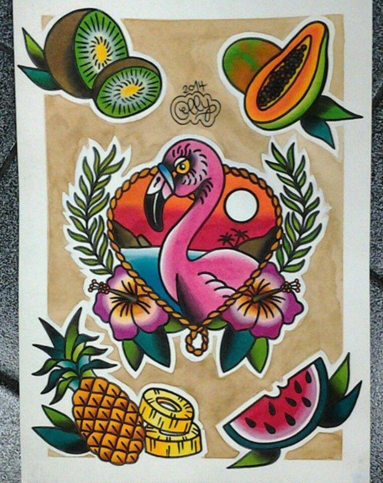 Hawaiian Tattoo Flash Flamingo Kiwi Pineapple Melon ...