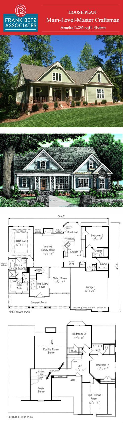 Amelia 2286sqft 4bdrm Main Level Master Craftsman Designed By Frank Betz Craftsman House Plans House Plans Farmhouse House Plans One Story