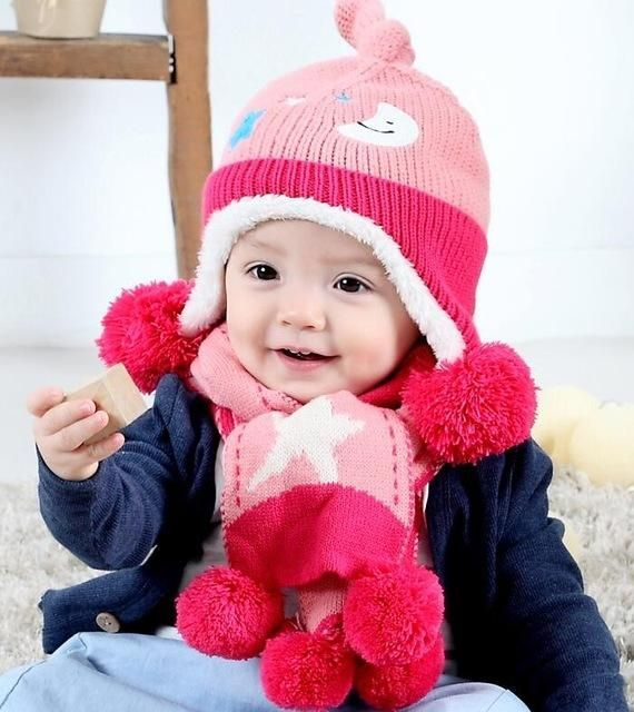 7224a5ea6e4 2pcs set New Child Winter Thicken Keep Warm Acrylic Hats   Scarf Baby  Cartoon Moon And Stars Knitted Cap for Boy Girl