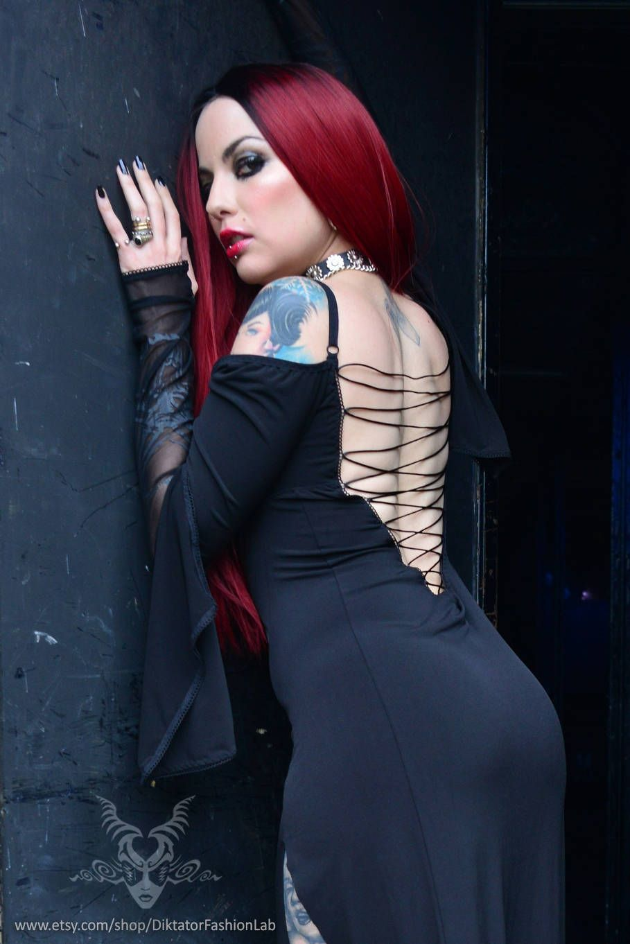 Black pentagram gown gothic vampire dress baphomet print mesh double