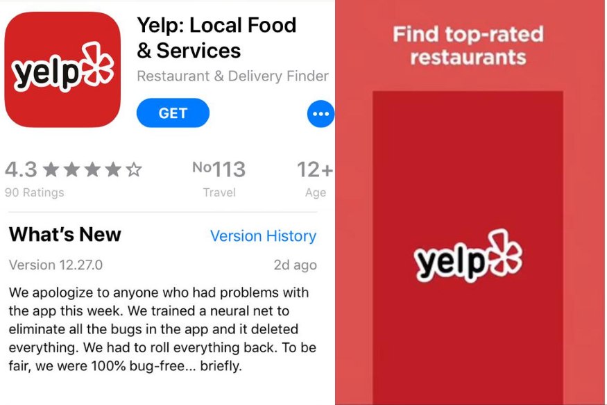 Yelp Tried to Remove Bugs On App Artificial Intelligence