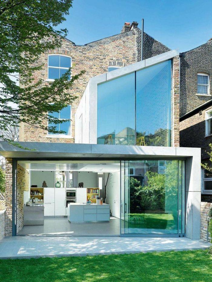 Modernes Aussehen Terrassenuberdachung Aus Glas Grosses Haus