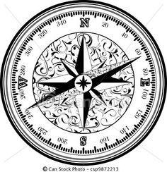 Vectors Of Vinatge Antique Compass