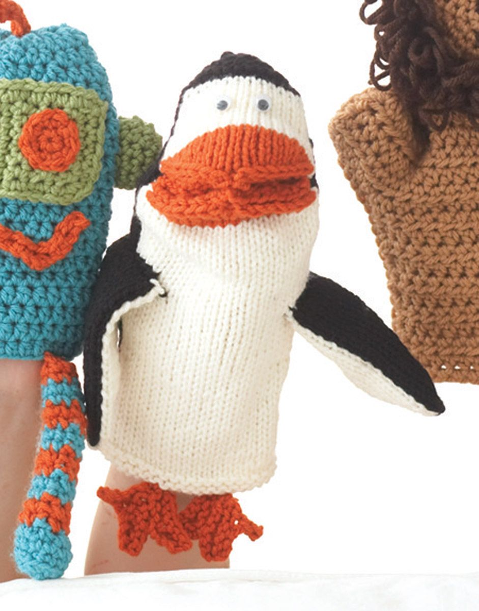 Loops & Threads® Impeccable™ Penguin Puppet (Knit) | free pattern ...