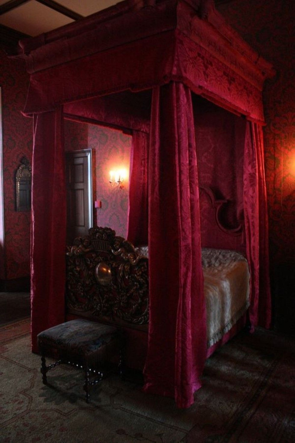 gothic inspired furniture. Gothic Bedroom Furniture: Romantic Inspired Wall Sconces Feat Awesome Furniture Present Canopy Bed With Red Drapes R
