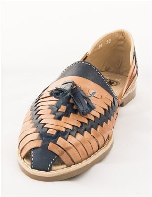c8216d3b2f021 Womens Colonial Style Closed Toe Huarache Sandals - Blue/Tan ...