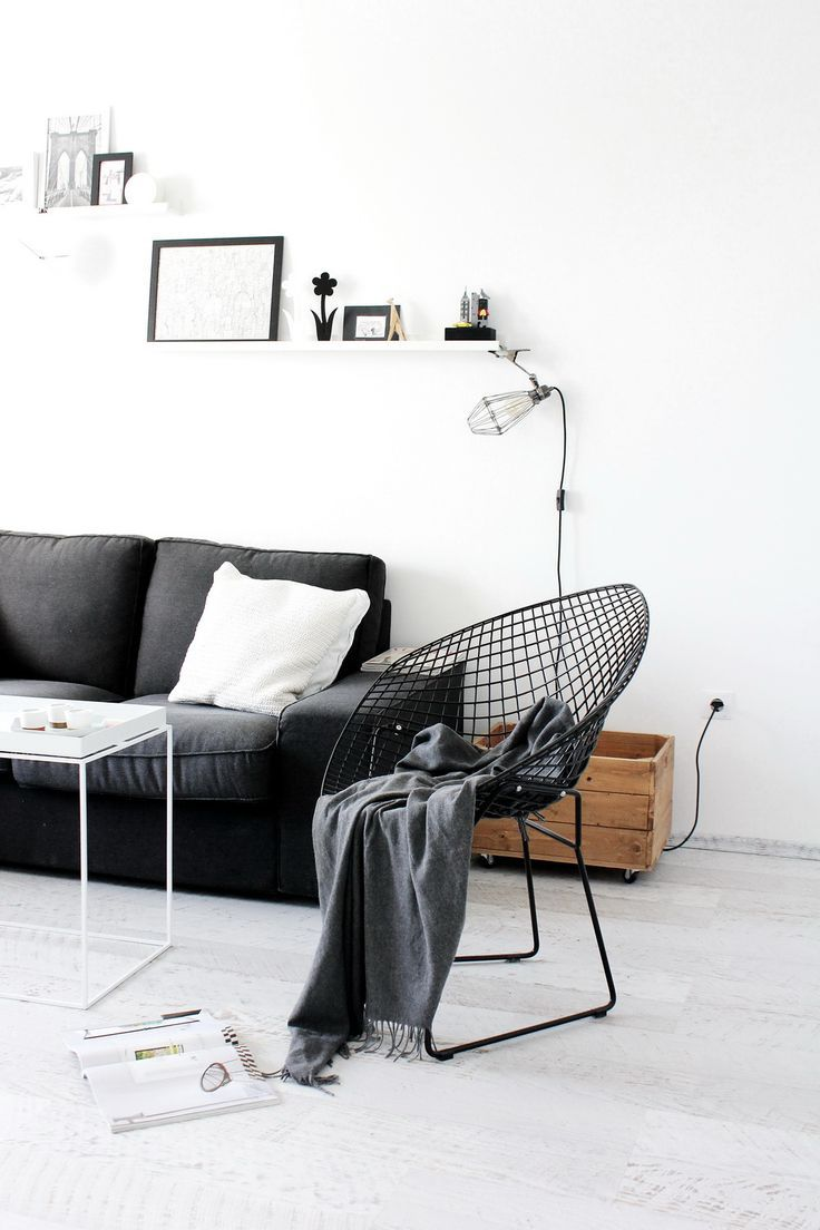 nordic living room grey sofa black wire chair ღ