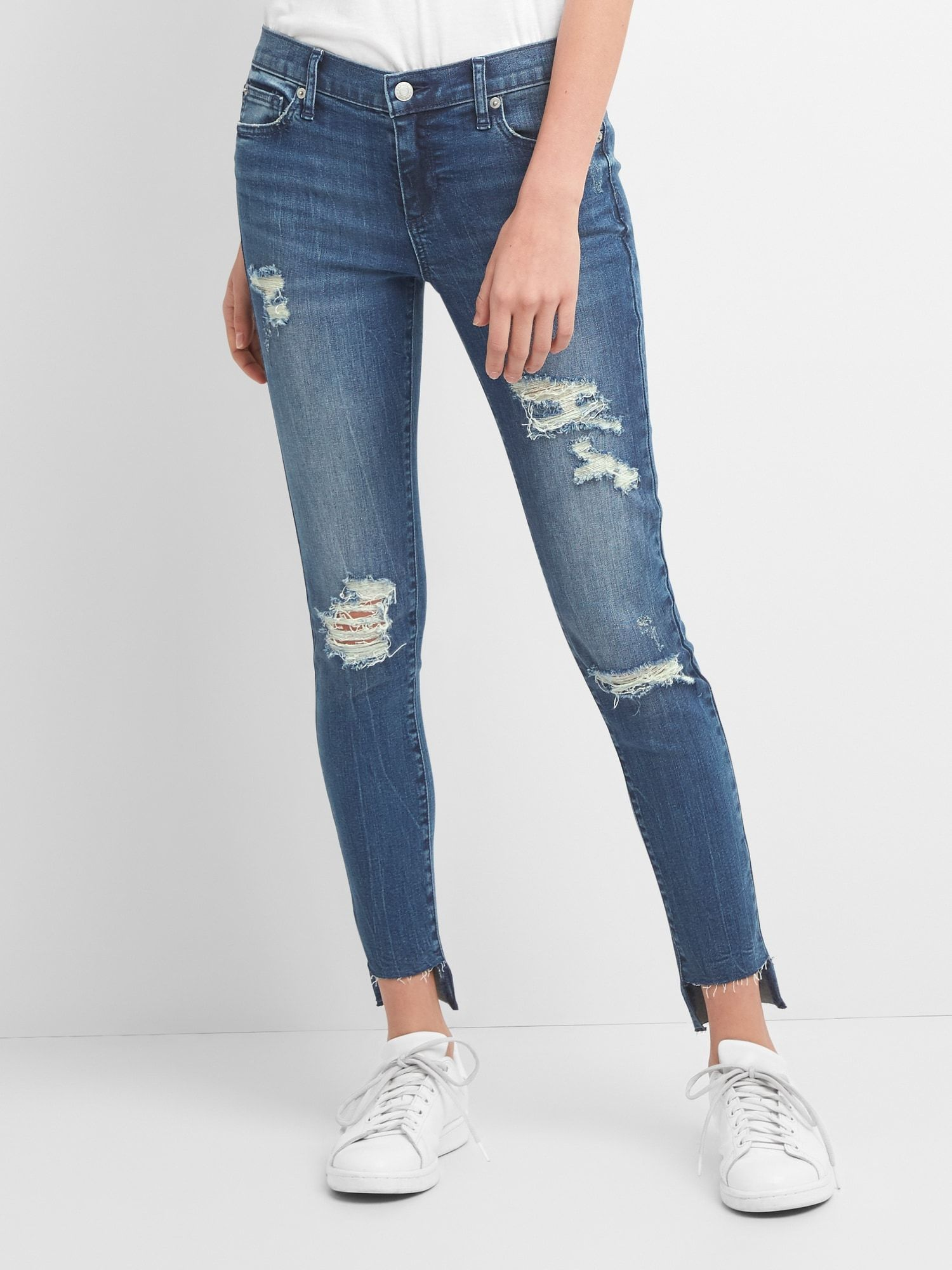 Washwell Low Rise True Skinny Jeans with Destruction   Gap