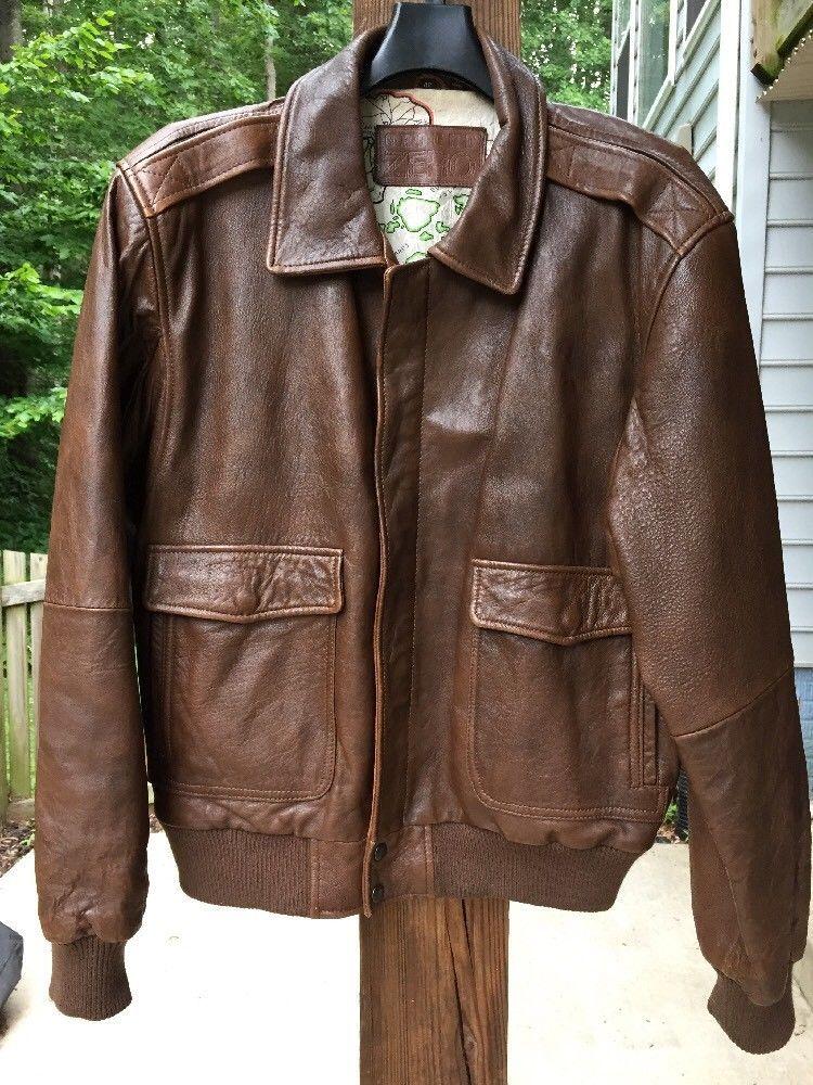 dad02e708e2 Vintage Korean GROUND ZERO Men s Leather Jacket Style A-2 Flight Bomber  Brown 42  GroundZero  BasicJacket