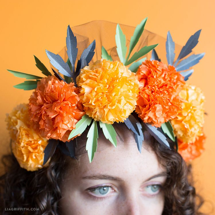 Marigold Flower Crown Lia Griffith Paper Flower Crown Paper Flower Crown Diy Marigold Flower