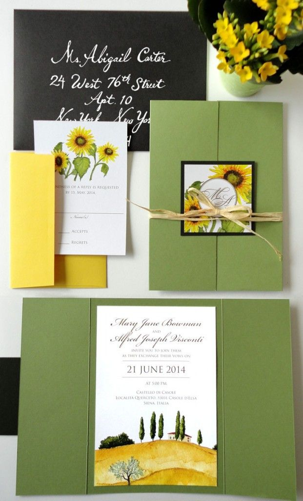 Tuscany theme green, yellow and black invitation suite | Ideas ...