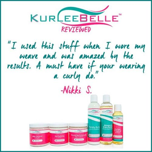 "Nikki S. says, ""I used this stuff when i wore my weave and was amazed by the results. A must have if your wearing a curly do."" #KurleeBelle #KurleeBelleReviewed #NaturalHair  Find Kurlee Belle at www.kurleebelle.com, Walmart, amazon.com or in stores in The USA, The Bahamas, Nigeria, Australia, Cayman Islands, Trinidad and Tobago, Barbados, Jamaica, Bermuda and NOW Providenciales, Turks and Caicos!"