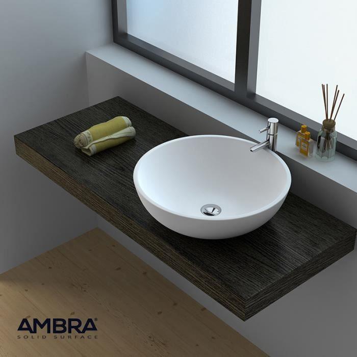 LAVABO VASQUE Vasque  poser ronde 40 cm en Solid surface