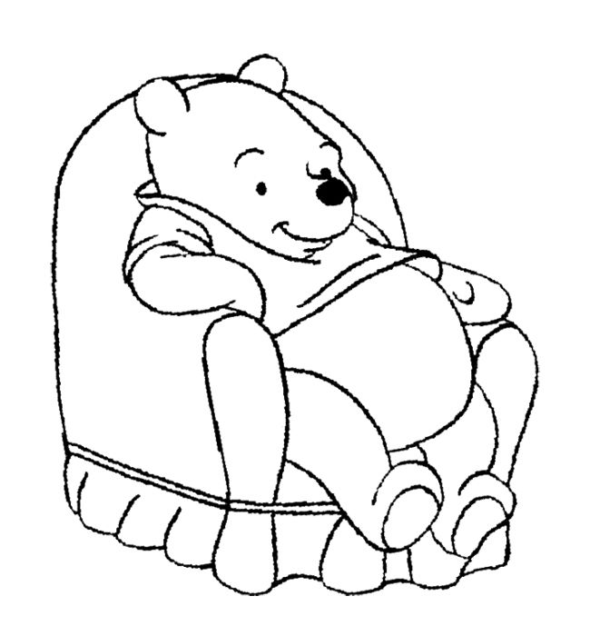 Winnie The Pooh Was Sitting On A Chair Big Coloring Page | Winnie ...