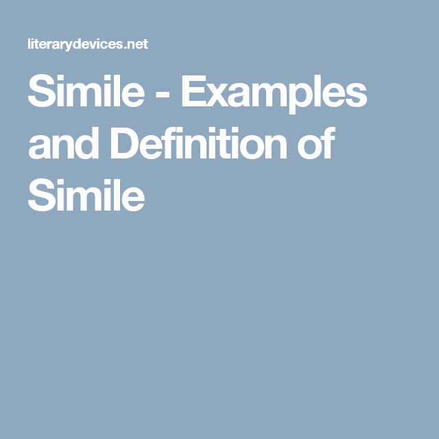 Simile Examples And Definition Of Simile Thinkin Readin