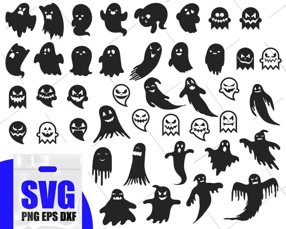 Ghost silgouette, ghost outline svg, ghost vector, cute