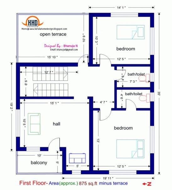 750 sq ft house plan indian style ehouse homes for 2 bhk house plans south indian style