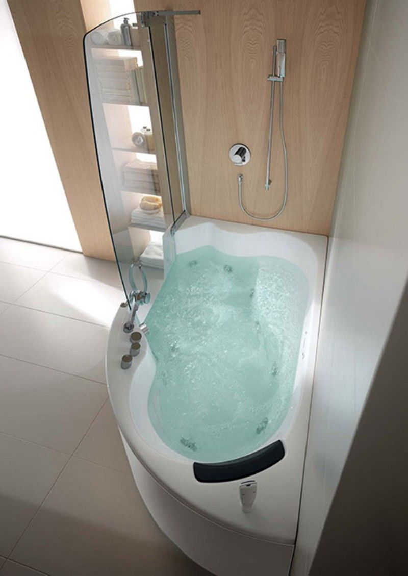 futuristic bathroom with corner bathtub whirlpool shower combo with ...