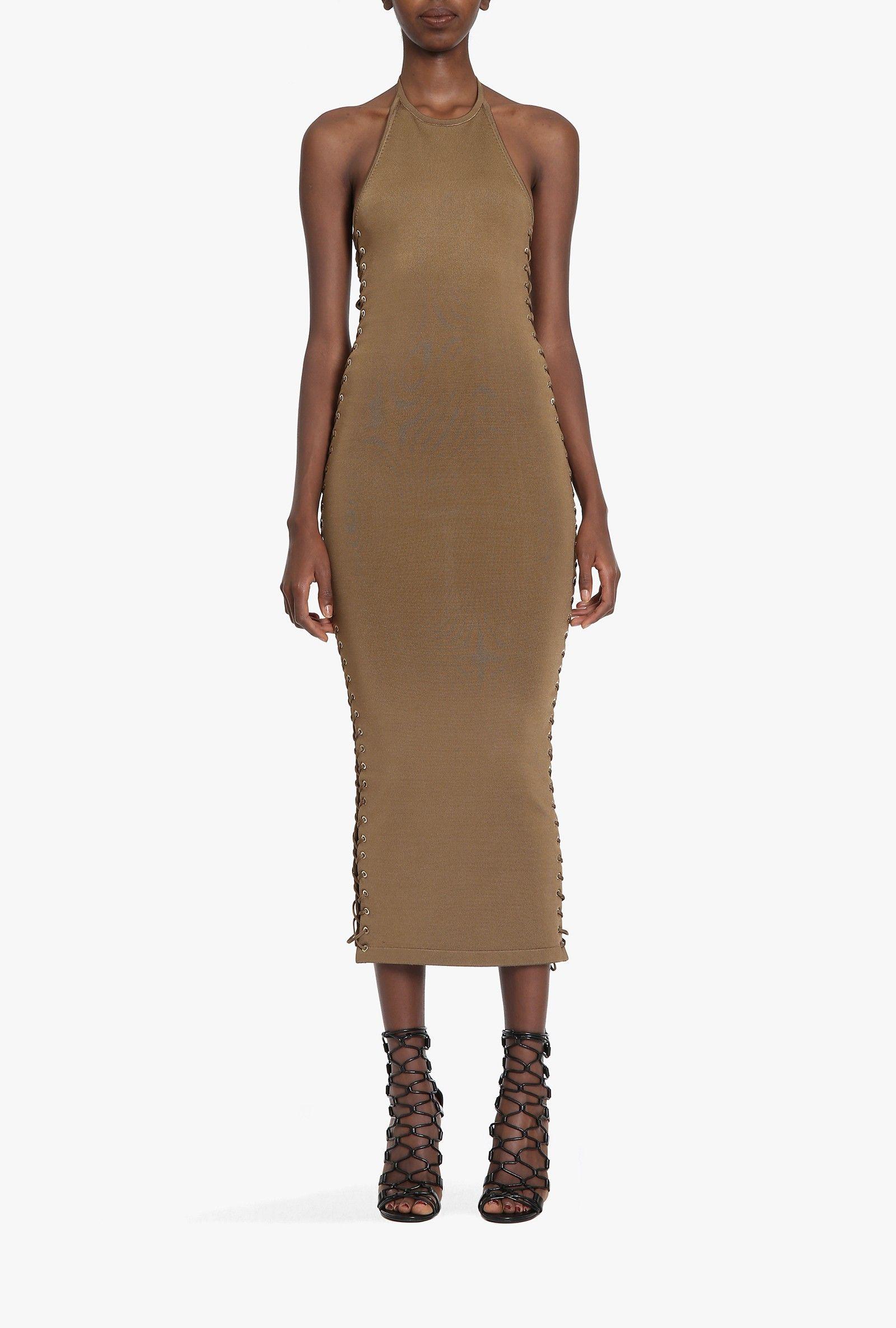 Lace-up stretch viscose knit maxi dress | Women's knit dresses | Balmain