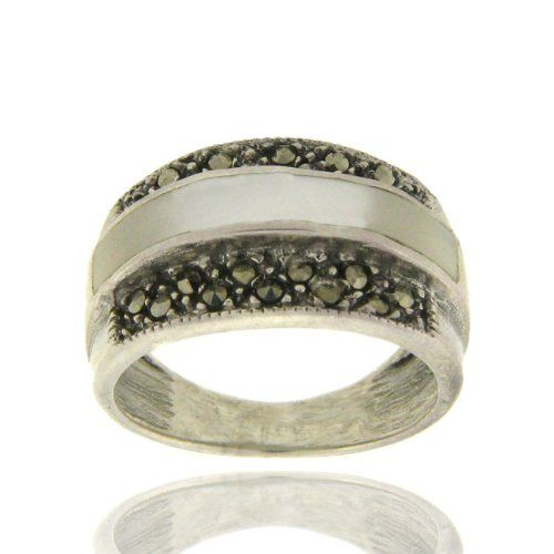 Sterling Silver Marcasite Mother of Pearl Ring -
