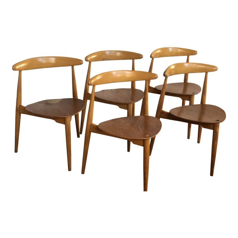 Vintage Mid Century Wegner Danish Heart Three Legged Dining Chairs