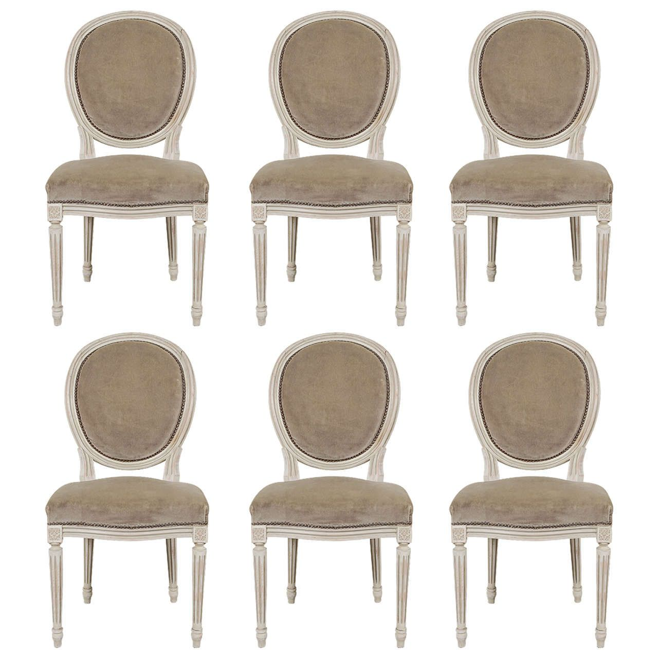 1900s Louis XVI Style Medallion Dining Chairs | Louis xvi and Fabrics