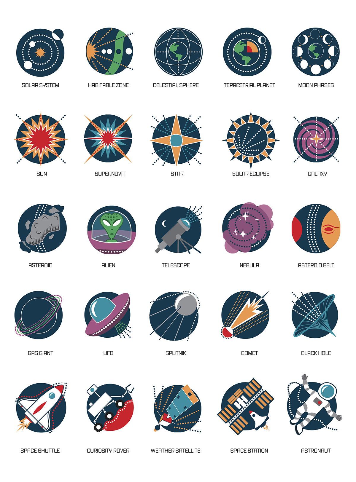 Outer Space Symbol Set On Behance With Images