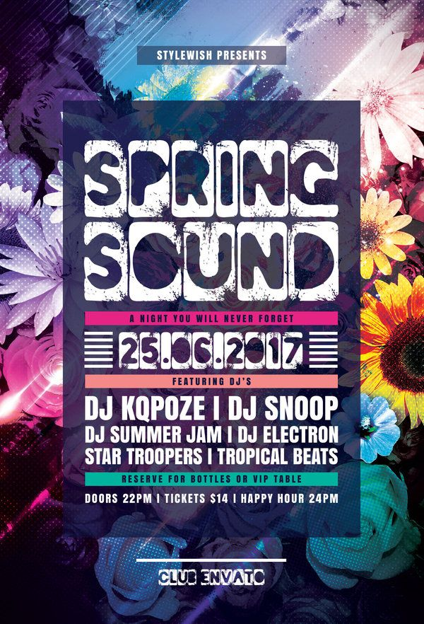 Spring Sound Flyer Template by styleWish Spring Flyer Design with - spring flyer template