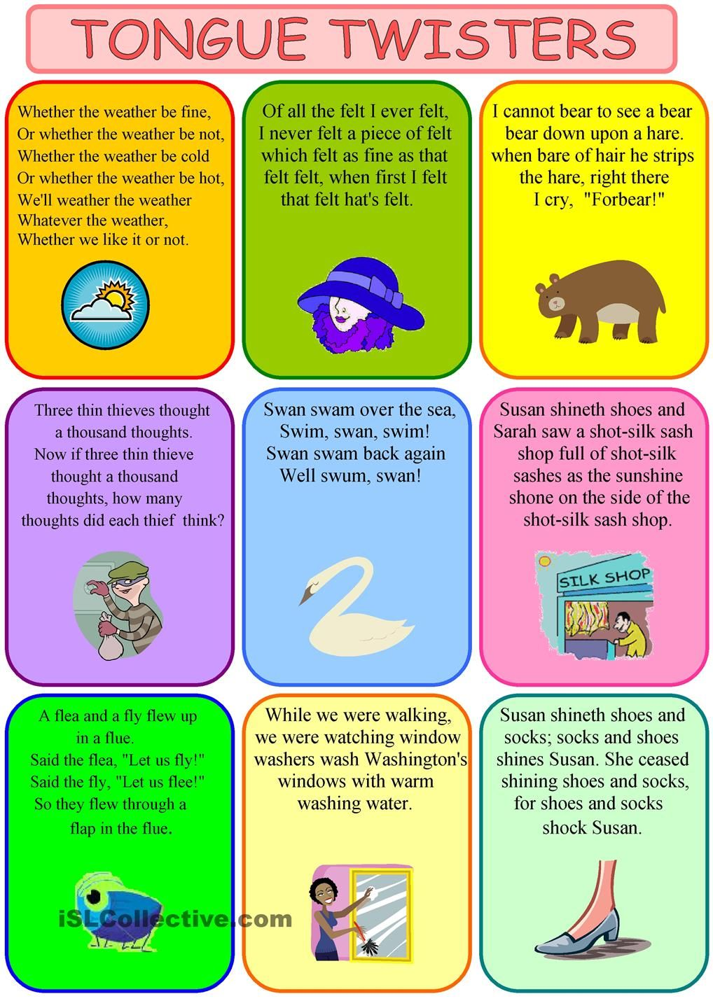 Classroom posters for Tongue twisters | TeachingEnglish | British ...
