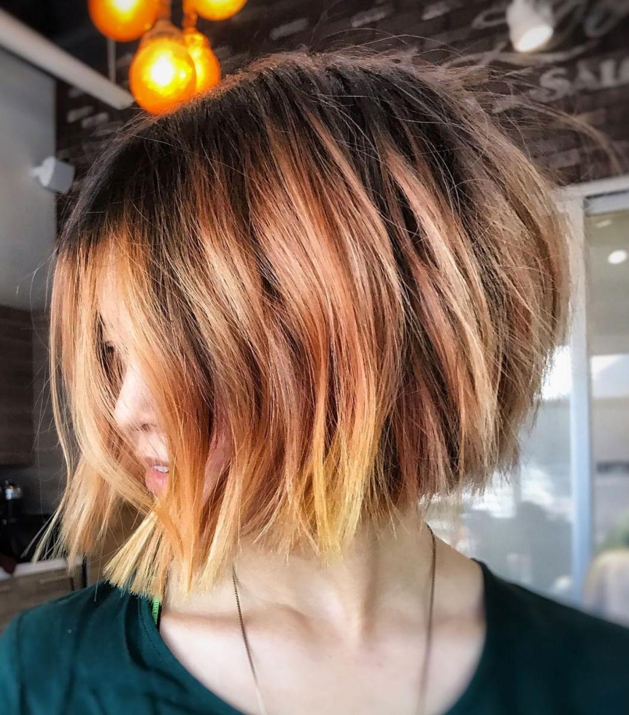 Choppy Rose Gold Balayage Bob Blunt Bob Hairstyles Medium Hair Styles Womens Hairstyles