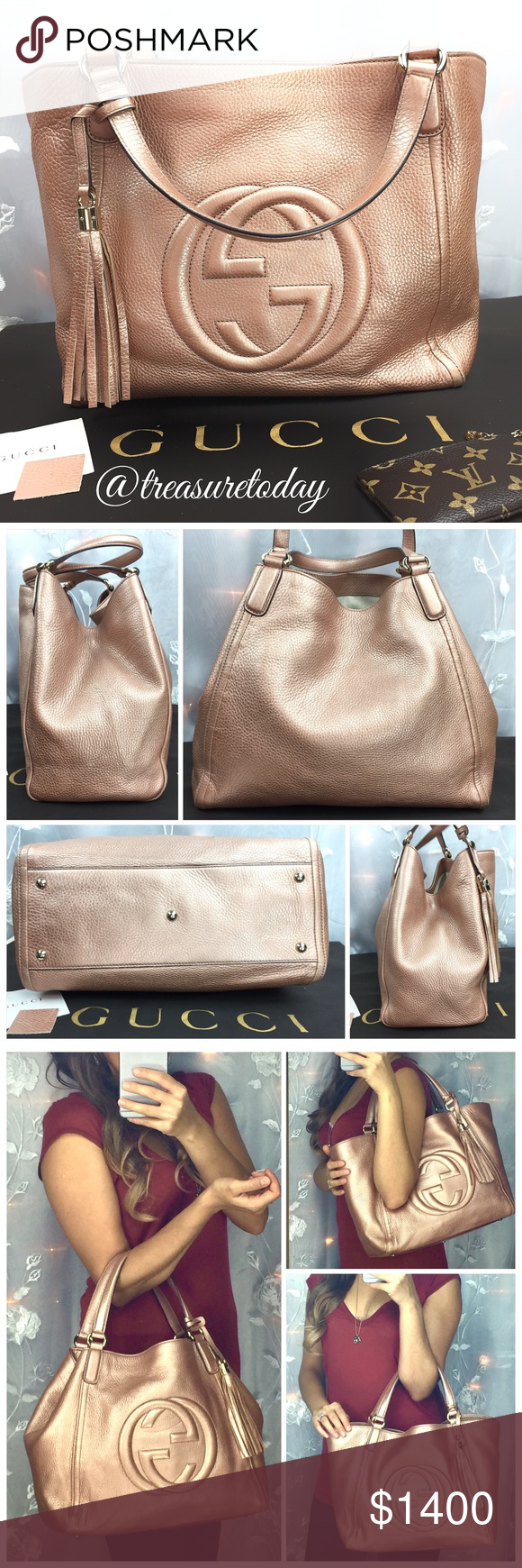 558bc48c170 Gucci Soho Rose Gold Japan Exclusive Satchel Tote Absolutely stunning !  Super rare