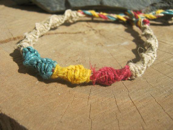 Rasta Macrame Bracelet Hemp Bracelet by Abundantearthworks on Etsy, $7.25