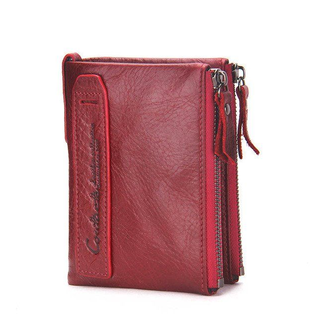 Genuine Leather Men Short Wallet Bifold Clutch Zipper Coin Purse ID Card Holder