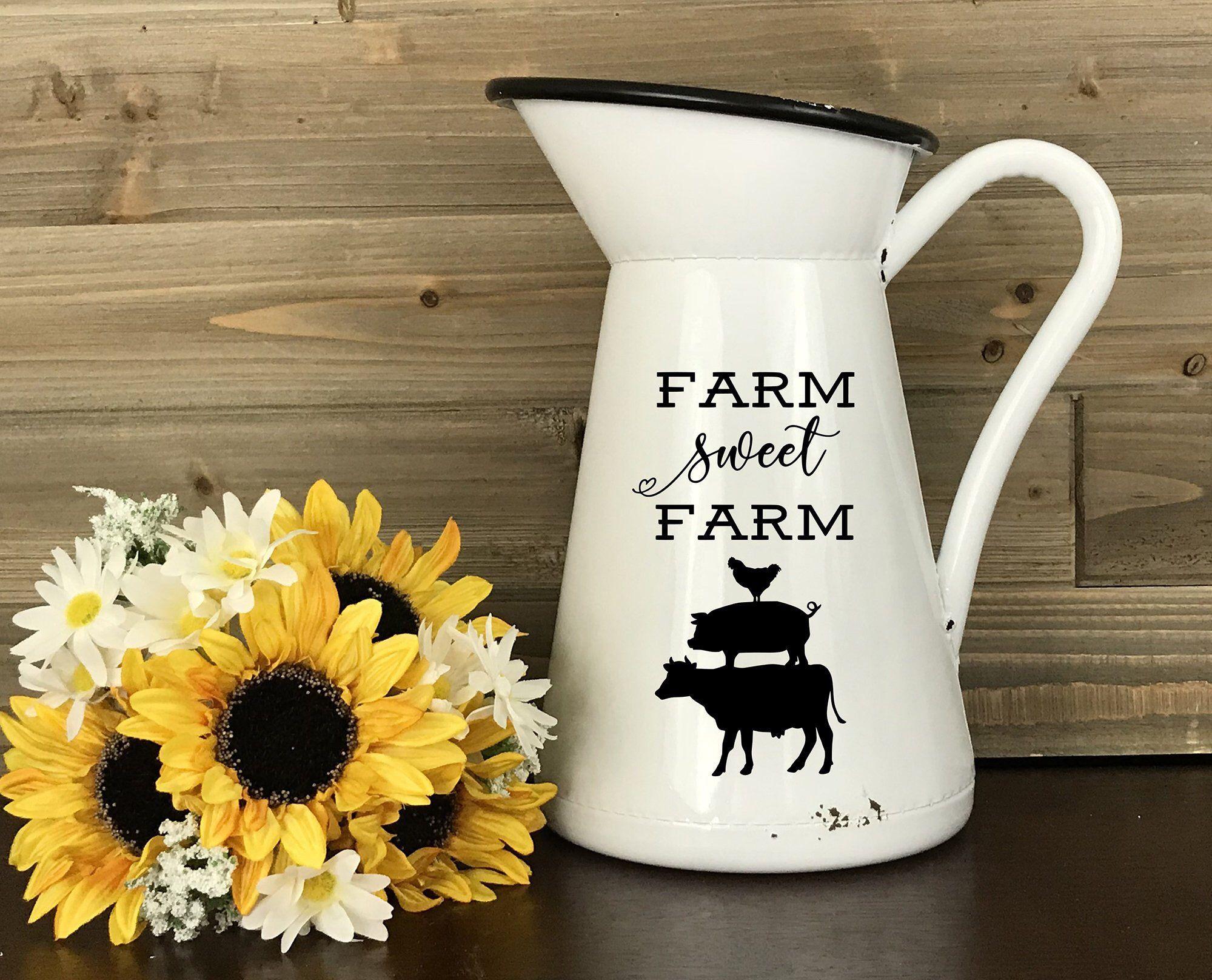 Farmhouse Metal Milk Pitcher, White Farm Sweet Farm Enamel