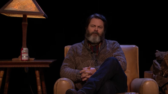 Cozy fellow Nick Offerman recites a moving poem about firewood