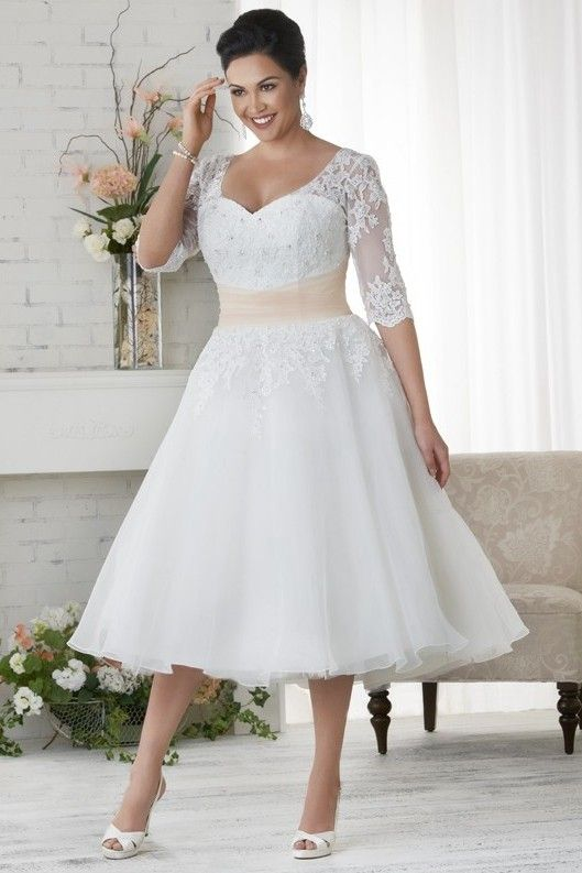 Lovest Price Of Simple A Line Tea Length Straps Organza Fabric Plus Size Wedding Dresses With A Wedding Dress Organza Bonny Bridal Wedding Dresses Bonny Bridal
